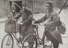 Cyclists repairing telephone lines, January 1915.