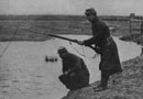 French soldiers with an improvised fishing rod.