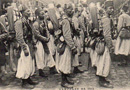 The general term of Senegalese tirailleurs is used for the indigenous French zouaves, likely Moroccan or Algerian.