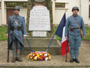 Jean Contamine stands with Arnaud Convard of the Poilu de la Marne, Remeberance Day ceremony at the Memorial to the Dead, in Villeroy, France (Marne), November 11, 2004.