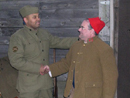 Private Martin (372 IR US Army) shakes hands with the zouave, Sdt. Fagot, November 2011.