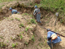 Training instructors clearing a trench with grenades, April 2012.
