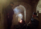 Smoking pipes in the subterranean vaults of Fort Mifflin. This particular room was an old prison cell. Fort Mifflin, March 2013.