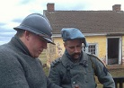 Sdt. Croissant and Sgt. Contamine work on installing hobnails. Fort Mifflin, March 2013.
