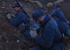 Poilus in position in an advanced post set up in a mine crater, prepping grenades. Newville, April 2013.