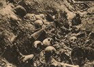 Remains of German soldiers piled up in the Death Ravine at Verdun.